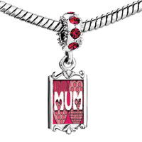 Charms Beads - red crystal dangle call your mother mum Image.