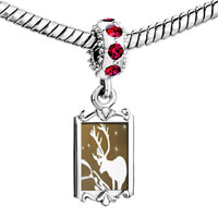 Charms Beads - red crystal dangle christmas rudolph reindeer in the snow Image.