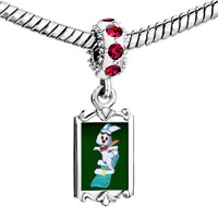 Charms Beads - red crystal dangle snowboard bunny Image.