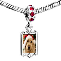 Charms Beads - red crystal dangle golden retriever santa Image.