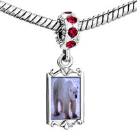 Charms Beads - red crystal dangle white polar bear Image.