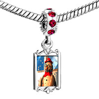 Charms Beads - red crystal dangle snowman in the snow Image.