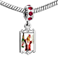 Charms Beads - red crystal dangle champagne santa Image.