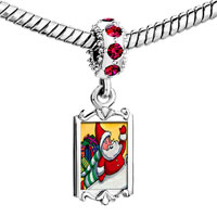 Charms Beads - red crystal dangle santa gifts Image.