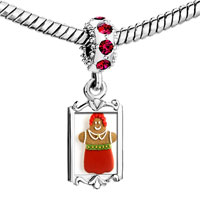 Charms Beads - red crystal dangle holiday cookie Image.