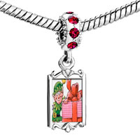 Charms Beads - red crystal dangle santa gift helper Image.