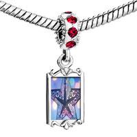 Charms Beads - red crystal dangle christmas star Image.