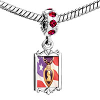 Charms Beads - red crystal dangle american flag purple heart Image.