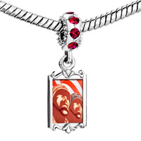 Charms Beads - red crystal dangle patriotic soldier memorial Image.