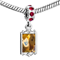 Charms Beads - red crystal dangle hanukkah holiday dreidel Image.