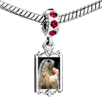 Charms Beads - red crystal dangle squirrel eating carrot animal Image.