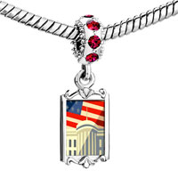 Charms Beads - red crystal dangle american flag whitehouse Image.