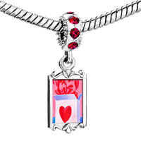 Charms Beads - red crystal dangle pink love box Image.