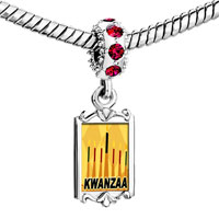 Charms Beads - red crystal dangle kwanzaa kinara cles holiday Image.