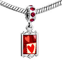 Charms Beads - red crystal dangle paper cutout hearts Image.