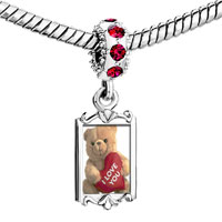 Charms Beads - red crystal dangle i love you bear Image.