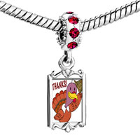 Charms Beads - red crystal dangle turkey giving thanks Image.