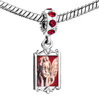 Charms Beads - red crystal dangle gazing cherub angel Image.