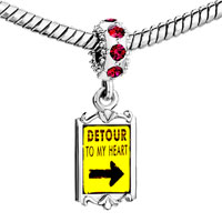 Charms Beads - red crystal dangle detour to my heart Image.