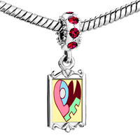 Charms Beads - red crystal dangle love heart puzzle Image.