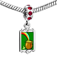 Charms Beads - red crystal dangle pot gold Image.