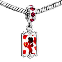 Charms Beads - red crystal dangle cupid hearts Image.