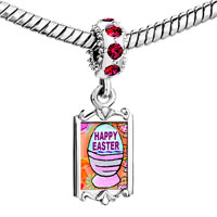 Charms Beads - red crystal dangle happy easter basket Image.
