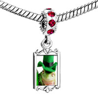 Charms Beads - red crystal dangle st.  patricks day frog Image.