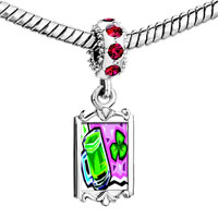 Charms Beads - red crystal dangle green beer Image.