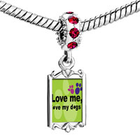 Charms Beads - red crystal dangle love me my dogs Image.
