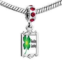Charms Beads - red crystal dangle feeling lucky irish clover Image.