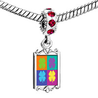 Charms Beads - red crystal dangle colorful four leaf clovers Image.
