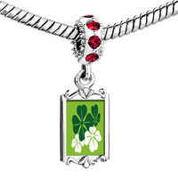 Charms Beads - red crystal dangle green four leaf clovers Image.