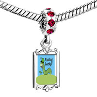 Charms Beads - red crystal dangle feeling lucky caterpiller Image.