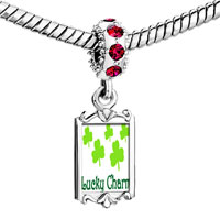 Charms Beads - red crystal dangle lucky Image.