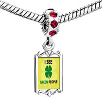 Charms Beads - red crystal dangle i see green people Image.