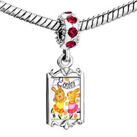 Charms Beads - red crystal dangle easter bunnies Image.