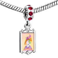Charms Beads - red crystal dangle easter bunny flowers Image.