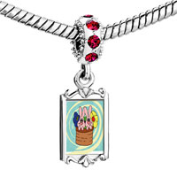 Charms Beads - red crystal dangle bunnies in a basket Image.