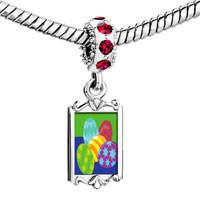 Charms Beads - red crystal dangle colorful easter eggs Image.