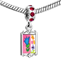 Charms Beads - red crystal dangle flowers butterfly easter eggs Image.