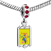 Charms Beads - red crystal dangle easter bunny yellow Image.