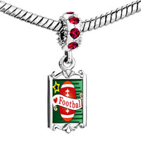 Charms Beads - red crystal dangle heart football Image.