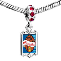 Charms Beads - red crystal dangle heart basketball Image.