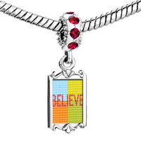 Charms Beads - red crystal dangle multicolored believe Image.
