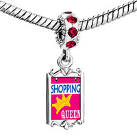 Charms Beads - red crystal dangle shopping queen Image.