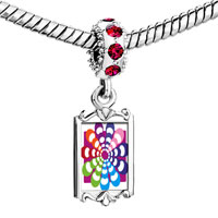 Charms Beads - red crystal dangle groovy hypnotic multicolored Image.