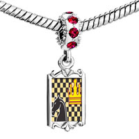 Charms Beads - red crystal dangle chess game Image.