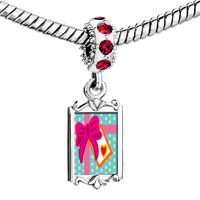 Charms Beads - red crystal dangle love gift Image.