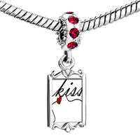 Charms Beads - red crystal dangle fancy kiss Image.